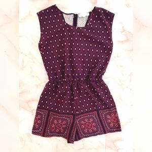 urban outfitters purple tribal print shorts romper
